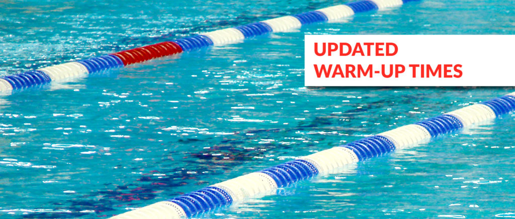 Information for teams: Updated warm-up times